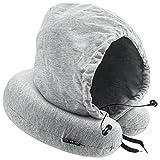VLOXO Cuscino da Viaggio Bluetooth, Cuscino da Collo Hoodie con Cuffie Bluetooth, Cuscino da Collo a Forma di U in Memory Foam, Supporto per Dormire & Ascoltare Musica & Chiamare in Auto, Aereo