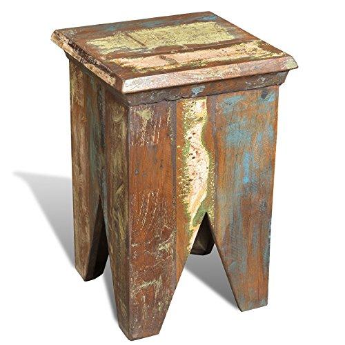 Antike Massivholz (vidaXL Teak Massivholz Antik Sitzhocker Vintage Ablage Sitzwürfel Landhaus Stuhl)
