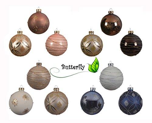 Decorazioni Albero Di Natale Blu : Palle di natale in vetro da cm bianco u blu set palline di