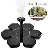 GreenCoves Solar Fountain Pump,1.5W Floating Solar Water Pump Fountain Pump Battery Backup for Garden,Fish Tanks, Pond,Aquarium,Decoration (Battery Backup) (Without Battery)
