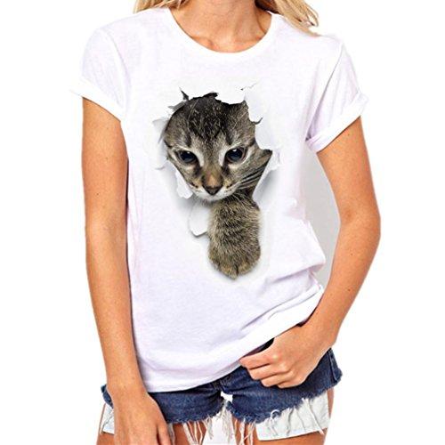 Homebaby® camicia uomo donna elegante maglietta manica corta casual - gatto stampa t-shirt uomo vintage stretch maglione cotone uomo tumblr estiva particolari magliette corte (s, bianco-donna)