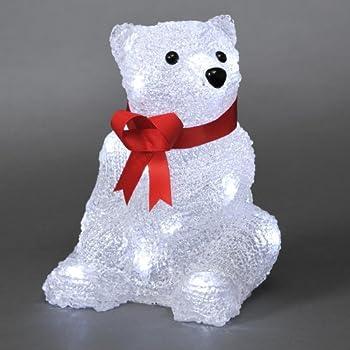 Battery LED Acrylic Sitting Polar Bear - 16 LEDs - 18cm high - 3D ...