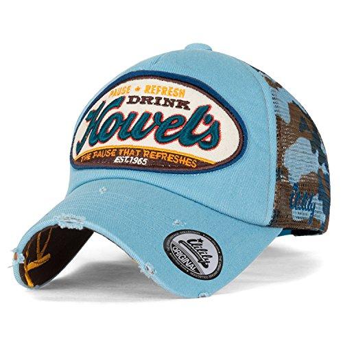 ililily Howel's Tarnkleidung (Camouflage) Baseball Netz Cap abgenutztes Aussehen klassischer Stil Trucker Cap Hut , Sky Blue (Camouflage Cap Crown)