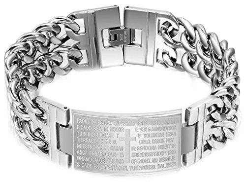 AMDXD Herren-Armband Edelstahl Silber Kreuz Gebet Hochglanz Poliert Länge 22.5CM