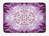 EJjheadband Doormats Flower Bath Mat, Close-up Image of a Chrysanthemum Blossom Fresh Spring Gardening Plant, Plush Bathroom Decor Mat with Non Slip Backing, 23.6 X 15.7 Inches, Violet and Pale Lilac