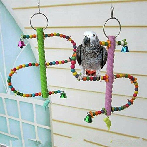 LA VIE Spirale Colorato Corda di Cotone Uccello Chew Giocattolo per Pappagalli Climbing Ladder Posatoio Pappagalli in Legno Giocattoli Rotanti Accessori per Pappagalli Criceto Scoiattolo 24CM Colore Casuale