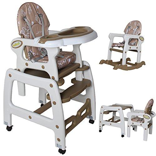 Seelux Mulitifunzionale Seggiolini per bambini multifunzioni 3 in 1 - seggliolino, tavolino e sedia a dondolo per bambini da 6 mesi a 6 anni con quattro colori a sclta. (bruno)