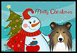 Carolines Treasures Snowman with Sheltie Indoor or Outdoor Mat, 24 by 36, Multicolor