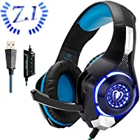 Beexcellent Cuffie Gaming USB per PC, 7.1 Stereo Surround Bassi Profondi Noise Cancelling con Microfono LED Light Controllo Volume