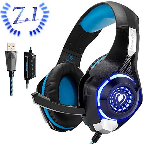 Beexcellent Cuffie Gaming USB per PC, 7.1 Stereo Surround Bassi Profondi Noise Cancelling con Microfono LED Light Controllo Volume