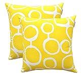 TreeWool Dekorativer Kissenbezug (50 x 50 cm, Gelb) Ringo Design 100% Baumwolle (2er Pack)