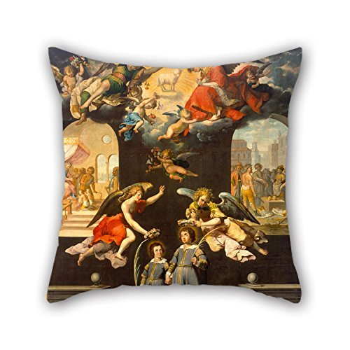 beautifulseason Oil Painting José Juárez - Saint Justus and Saint Pastor Pillow Cases 20 X 20 Inches/50 by 50 cm Gift or Decor for Floor,Home Theater,Lover,Bar,Couples,Bar Seat - Twice Sides Camo Quilt