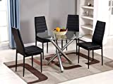 Round Glass Dining Table Selina Chrome Round Glass Round Dining Table and 4 Faux Leather Dining Chairs (Dining Table Only)