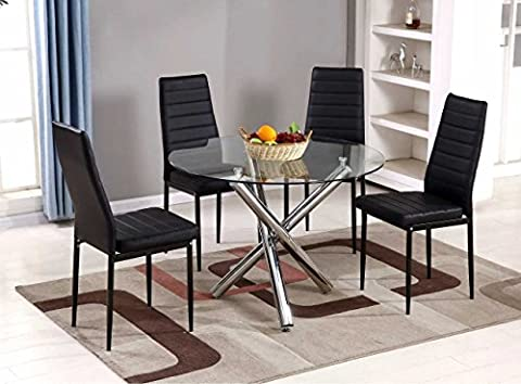 Selina Chrome Round Glass Round Dining Table and 4 Faux Leather Dining Chairs (4 Chairs)