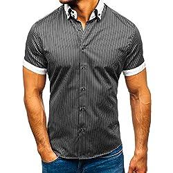 BOLF Hombre Camisa De Rayas De Manga Corta Elegante Cuello Americano Slim Fit 1808 Blanco-Negro M [2B2]