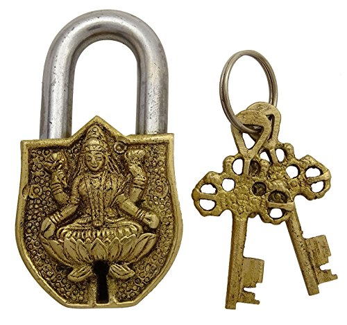 goddess-lakshmi-brass-metal-pad-lock-for-decor-religious-locks-and-2-keys-with-god-statue