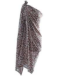 Extra Large Pure Silk Batik Pearl Drop Sarong/Wrap/Pareo in Chocolate Ivory
