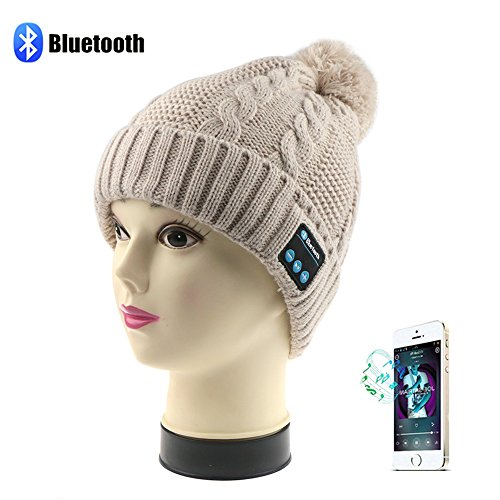 Bluetooth Wireless Music Beanie Hat, Topoint Winter Outdoor Sport Premium Knit Cap with Bluetooth 3.0+EDR+ Stereo Headphone Headset Earphone Speakers + Set-in MIC Phone Call Answer Support Apple iPhone,Android(Camel) Test