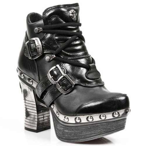 New Rock, Scarpe con plateau donna Nero (nero)