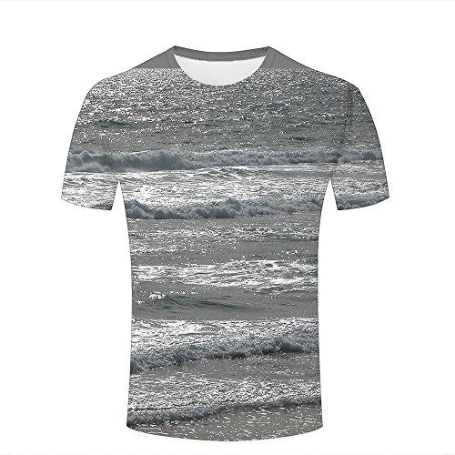 lingshirt Herren 3D Casual T-Shirt Ocean Layer Waves Landscape Graphics Short Sleeve Tops XXXL (Layer-crew Sleeve Short Tee)