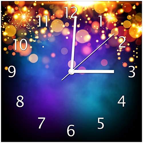 Wallario Glas-Uhr Echtglas Wanduhr Motivuhr • in Premium-Qualität • Größe: 30x30cm • Motiv: Bunte Kugeln in orange und rot, explodierend, vor blauem Hintergrund