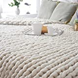 Knitting Wool Blanket Handmade Knitted, SOMESUN Tiro a maglia grosso a maglia spessa di lana spessa a mano 100X80cm (100x80cm, Beige)