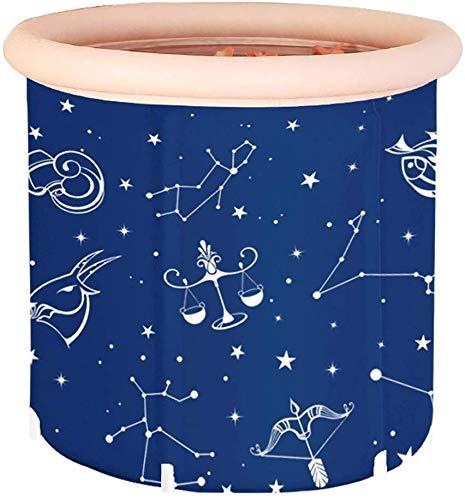 Einweichen Badewanne for Duschkabine, aufblasbare, flexible, bewegliche Blau aufblasbaren Badewanne, Erwachsene Thick Folding Kunststoff-Bad mit weichen Kissen Zentralsitz, Runde aufblasbare Wanne