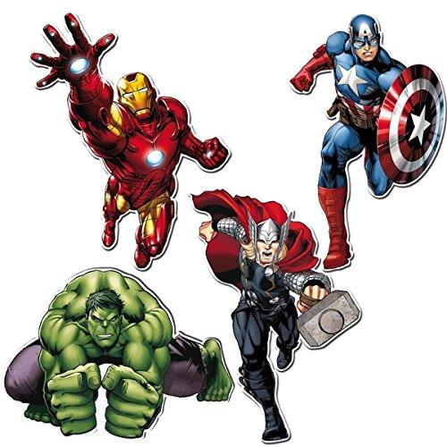 4-teiliges Figurenset * AVENGERS ASSEMBLE * // Kindergeburtstag Kinder Feier Set Fete Fest Kinder Geburtstag Party Mottoparty Motto // Superhelden Marvel Ironman Thor Captain America (Superhelden Motto Partys)