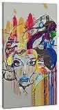 Topquadro Cuadro XXL sobre Lienzo, Imagen Panorámica 100x50cm, Graffiti Cara de una Mujer - Estilo Moderno y de Moda - Grafiti Decoración de Pared, Imagen Panorámica - Una Pieza