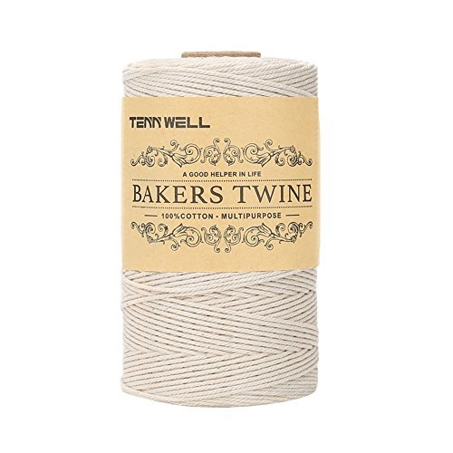 Tenn Well 200m 3-lagig Bäcker Bindfäden, Küche Lebensmittelunbedenklich Baumwoll-Garn Ideal zum Verschnüren, geeignet für Geflügel, Würstchen, Heimarbeiten, Basteln und Dekorieren (Weiß)