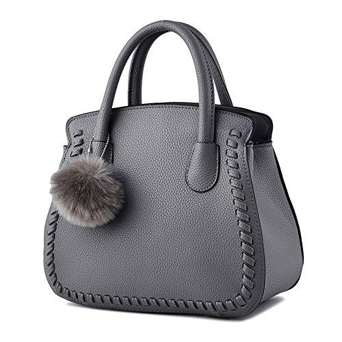 Donna Tote Borse in PU Pelle Piccolo Fiocco Borsa a Mano grigio grigio