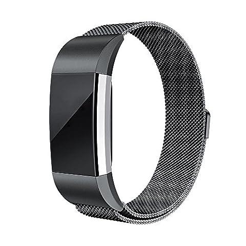 Armbanduhr Band Edelstahl, happytop 12mm elegante Armband Ersatz Handschlaufe für Fitbit Laden 2/Fitbit Alta S For Fitbit Charge