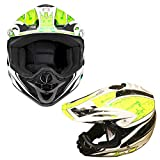 Kinderhelme Motorrad Roller MX Helm Off Road Racing Junior Motorradhelm Kinder Vollgesichtsschutz - 4 Gelb XS