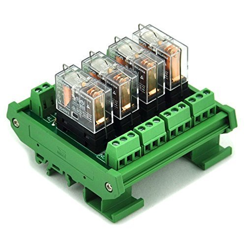 Electronics-Salon DIN Rail Mount 4 SPDT 16 A Power Relay Interface Modul, Omron G2R-1-E 24 V DC Relais. -