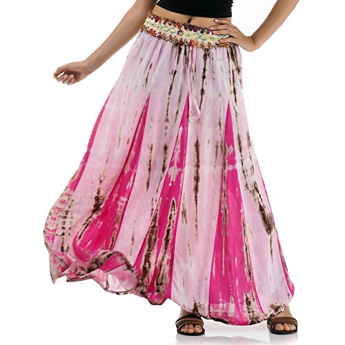 Langer Hippie Batik Gypsy Zigeuner Rock 36 38 40 42 S M (Rosa & Pink)
