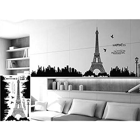Andonger Nero Torre Eiffel a Parigi Wall Stickers PVC estraibile Creative Design Sfondi stanza di bambini Kindergarten Fashion adesivi