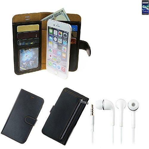 TOP SET für General Mobile GM 6 Portemonnaie Schutz Hülle schwarz aus Kunstleder + Kopfhörer Walletcase Smartphone Tasche für General Mobile GM 6 vollwertige Geldbörse mit Handyschutz - K-S-