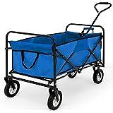 Chariot de transport bleu et noir - pliable - Charrette à main Chariot de jardin