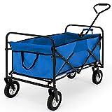Deuba Carrello pieghevole con ruote carico max. 100kg giardino spiaggia mare blu