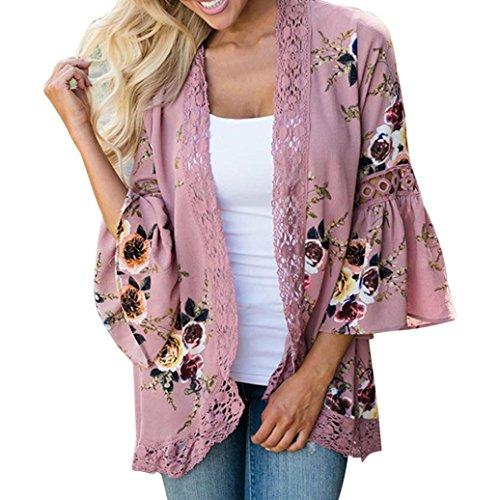 MRULIC Damen Florale Kimono Cardigan Boho Chiffon Sommerkleid Beach Cover up Leicht Tuch für die Sommermonate am Strand Oder See (XL, Rosa)