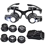 LEMONBEST Double Eye Watch Repair Magnifier Loupe Jeweler Magnifying Glasses Tool Set With LED Light