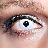 KwikSibs farbige weiße Kontaktlinsen Zombieaugen 1 Paar (= 2 Linsen) weiche Linsen inklusive Behälter und 50ml Pflegelösung (Stärke / Dioptrie: -5,00)