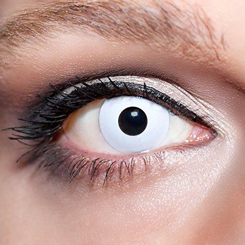 KwikSibs farbige weiße Kontaktlinsen Zombieaugen 1 Paar (= 2 Linsen) weiche Linsen inklusive Behälter und 50ml Pflegelösung (Stärke / Dioptrie: -2,75)