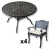 Lazy Susan - SARAH 120 cm Runder Gartentisch mit 4 Stühlen - Gartenmöbel Set aus Metall, Antik Bronze (KATE Stühle, Beige Kissen)