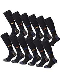 6 oder 12 Paar MT® Herren Arbeits- und Freizeit Kniestrümpfe mit Innenfrottee - Funktions-Kniestrümpfe - Venenfreundlich, atmungsaktiv, belastbar - Work Socken - Größe 39-50 - auch Übergröße
