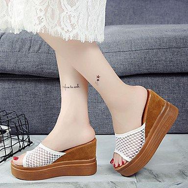 Les femme's confort sandales d'été à Cachemire occasionnels joint de séparation Talon bas noir kaki 2in-2 3/4 US6 / EU36 / UK4 / CN36