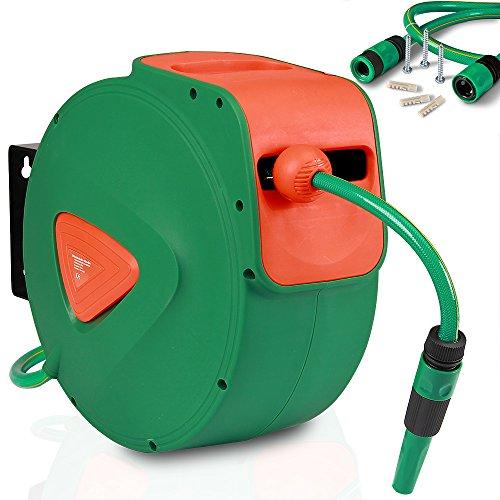 Deuba® Schlauchtrommel 20m + 2m Schlauchaufroller Wandschlauchbox ✔ 180° Schwenkbar ✔ Aufwickelstopper ✔ verstellbare Schlauchspritze ✔ inkl. Halterung