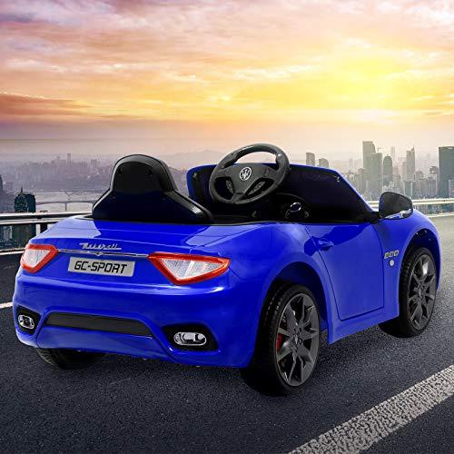 RC Auto kaufen Kinderauto Bild 2: UEnjoy 12V Kinderauto Maserati Grancabrio Elektronik Kinderauto Fahrt auf Auto mit Fernbedienung, Federung, MP3-Player, Beleuchtung, Blau*
