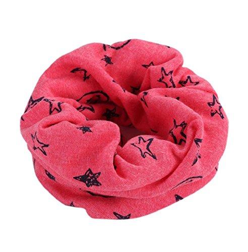Hffan Baby Loop Schal Kinder Jungen Mädchen Unisex Winter warm Schlauchschal O Ring Schals Hals schal mit sternen super weich Baumwolle rundschal Baby Schals Winter Kinder Baumwollschals (Pink)