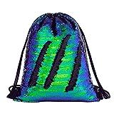 Deeplive Mermaid Drawstring Bag Magic Reversible Sequin Backpack Glittering Dance Bag for Yoga Outdoor Sports,Chrismas Gift for Girls Women Kids (Blackcolor)